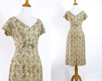 Vintage 1950s Dress | 50s Lace Wiggle Dress with Bow | Brown Yellow and Cream Party Dress | M L