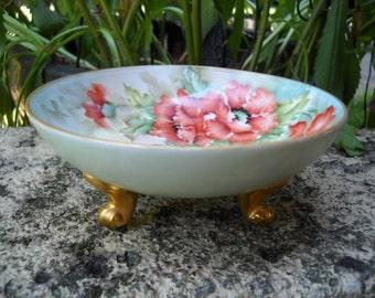 Gilded and Footed Elegant Floral Poppy's Porcelain BAVARIA Bon Bon Bowl Signed Hand Painted by  G.B. SHANTZ  1898-1923