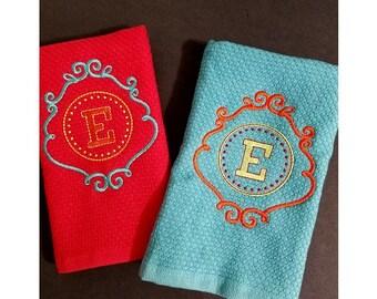Monogrammed Kitchen Dish Towels   Initial Kitchen Towel   Ornate Monogrammed  Kitchen Towel   Personalized Kitchen Towel   Gift   Wedding