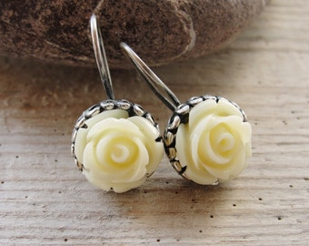 Seashell Rose Earrings Sterling Silver Hand carved seashell roses, Romantic Jewelry