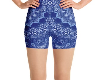High Waist Yoga Shorts, Blue Festival Clothing, Performance Wear, Rave Wear, Printed Booty Shorts