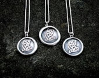 Salmon Silver Wax Seal Stamp Necklace - Collaboration with Mulidzas-Curtis Wilson