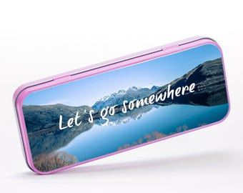 Let's Get Somewhere Lake Wanderlust Mountain Motivational Inspirational, Stationery Metal Tin, Personalised Stationery, ST095