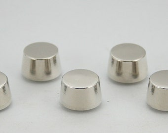 5 pcs. Silver Tone Round Flat Head Screwback Studs Leathercraft Decorations Findings 11x8 mm. BS N 109 SCB 87