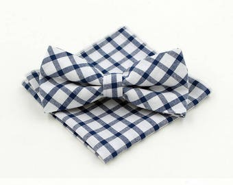 Check Bow Tie & Pocket Square Set