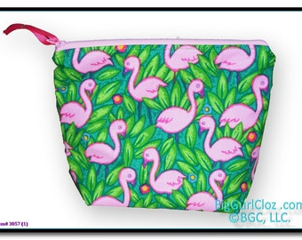 "Pink Flamingo Zippered Personal Soft Pouch approx. 9""w X 7.5""h"
