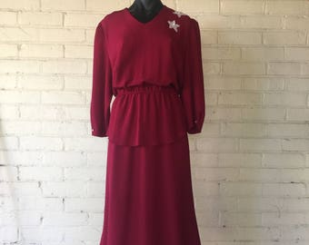 Vintage 1980's Long Burgundy Peplum Dress with Beaded Star Decal