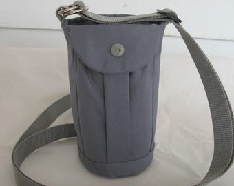 Water Bottle Holder Sling//Walkers Insulated Water Bottle Cross Body Bag// Hikers Water Bag-Gray