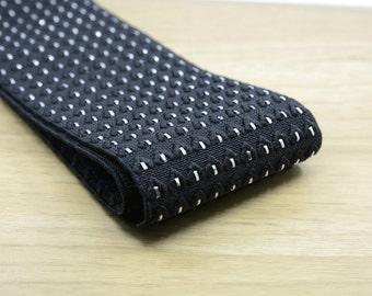 3inch (75mm) Wide  Jacquard Silver Glitter Striped  Black Elastic Bands,Waistband Elastic,Sewing Elastic