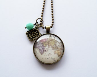 Globe Necklace - 30 mm - Map Pendant Necklace - World Map - Adoption Jewelry - Travel Necklace - You Choose Bead and Charm - Customizable