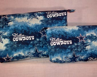 Dallas Cowboys themed Zipper Pouches - Set of 2.