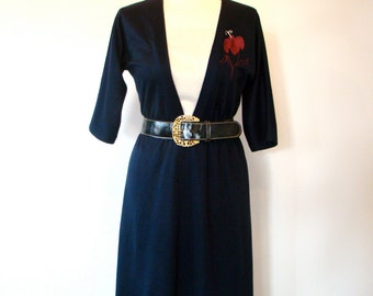 Vintage 70s / Navy Blue / Fuschia Flower / Secretary Dress / MEDIUM