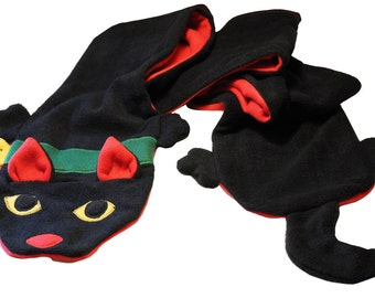 Black Maneki Neko Kawaii Cat Fleece Scarf