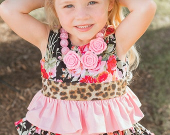 Rosey Posy Set Annabeth Ruffled Top, Leopard Ruffled Top, Little Girl's Clothing, Ruffled Girls Top, Pink Toddler Outfit, Ruffled Clothing