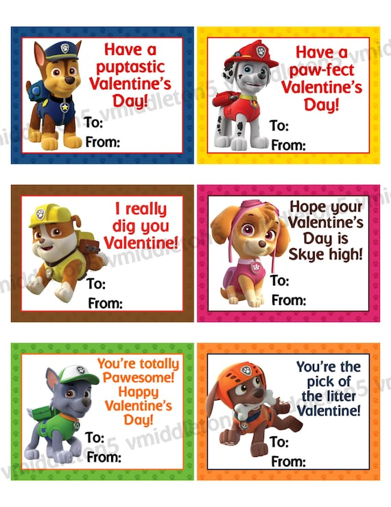 Paw Patrol Inspired Printable Valentines Day Cards