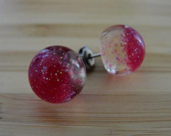 Fine Fuchsia Glitter Earrings