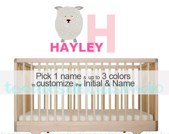 Sheep Wall Decal for Girls, Reusable Fabric Decal, Name Decals for Kids, Girls Sheep Themed Nursery, Sheep Wall Decor, Baby Sheep Art