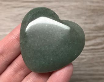 Green Aventurine Flat Heart 45mm | Worry Stone | Palm Stone #1376