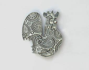 Year of the Rooster, Paisley Rooster Pewer Magnet