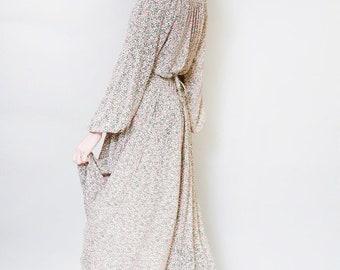 Vintage 1970's Slinky Floral Print Boho Midi Dress
