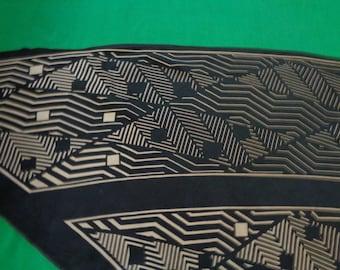 1930's scarf silk triangle Art Deco geometric black and white large