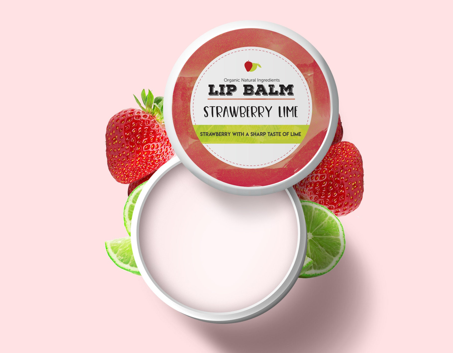 Lip Balm Strawberry Lime Moisturising Shea Butter Care Zoom