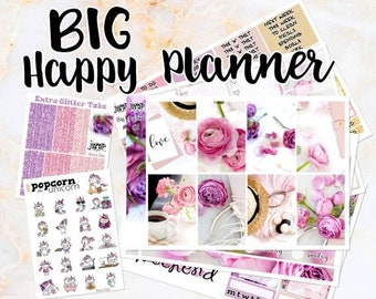 NewRELEASE Amy's Day pink floral set kit weekly stickers - BIG Happy Planner - flowers purple glitter roses