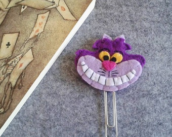 Cheshire Cat Bookmark, Alice in Wonderland bookmark, Paper clip, Planner accessories, Gift for bookworm, Back to school, Felt bookmark.