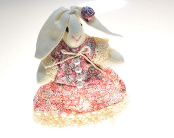 Stuffed Little Bunny Toy with Dress in Floral Print, Fabric Rabbit