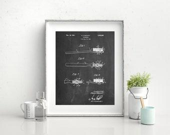 First Toothbrush Patent Poster, Dental Art, Dental Office Decor, Dentist Office, Bathroom Poster, PP0815 Z1016
