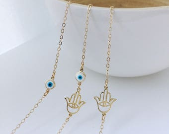 Evil eye Jewelry Hamsa Jewelry Gold filled Chain Sterling Silver Chain Necklace Gift for Women Bridesmaids Gift Dainty necklace Chain Women