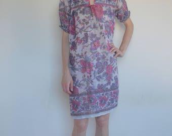 60's Indian cotton gauze dress metallic stripe/ boho festival hippy love!