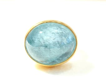 Silver and gold ring with aquamarine * sky blue *