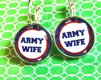 Army Wife glass cabochon earrings - 16mm