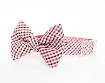 Georgia Bulldogs Bow Tie Dog Collar in Gingham