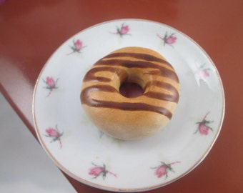 Doll Food Chocolate Drizzled Topped Donuts Polymer Clay Miniature Food Donuts American comfort foods Krispy Donuts