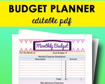 Budget Planner Printable, Editable Monthly Budget Planner, Printable Finance Tracker Editable Finance Organizer Letter Size Instant Download