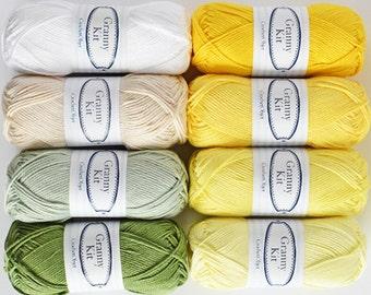 Chamomile Bouquet kit - 8 cotton balls, Granny Kit cotton 4ply, by CrochetObjet