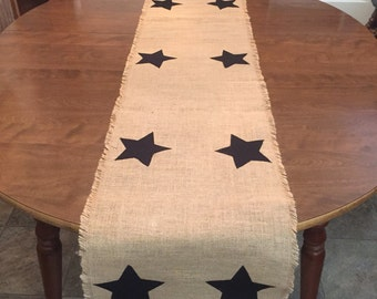 Extra Long Burlap Table Runner-Shown with Black and Red Stars, can be done in any fabric of choice