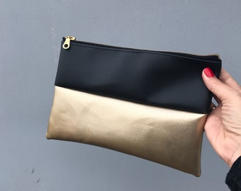 Gold and black Vegan Clutch, Gold Clutch, Bridal Clutch Bag, Women's Clutch, Metallic Clutch Bag