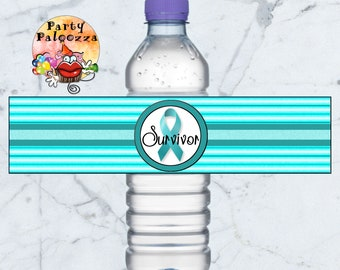 printable Ovarian Cancer survivor water bottle labels