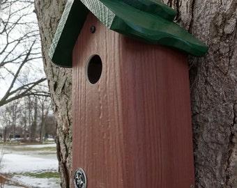 Bluebird house,PVC,cedar wood,outdoor birdhouse,fully functional,virtually maintenance free,post mount,modern,made in USA