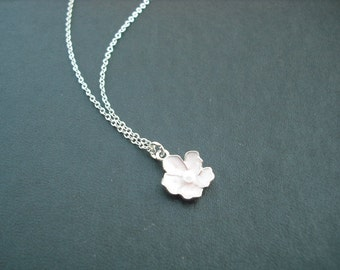Sterling Silver Chain - light pink flower necklace