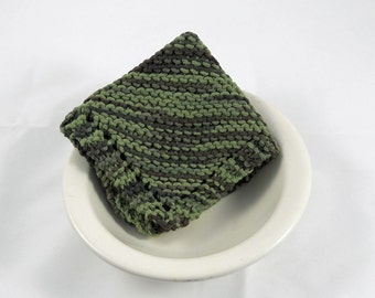 Large Hand Knit Cotton Dishcloth/ Washcloth in Green,  Make Your Own Custom Set, Housewarming Gift, Baby Shower Gift,  Wedding Gift