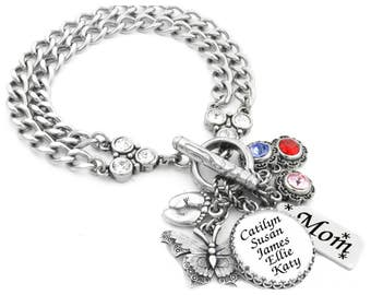 Mothers Day Bracelet with Children's Names and Birthstones in Forever Stainless Steel
