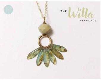 Willa Necklace — wire wrapped czech glass, minimalist layering light necklace wedding bride boho nashville