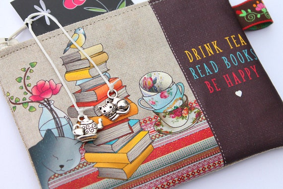 """Wallet shown natural linen """"Drink tea Read books Be happy"""""""