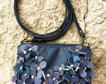 leather messenger, vintage style purse, rustic leather bag, tiny leather bag, small leather bag, spring trends, light navy blue, mothers day