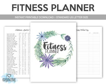 Health/Fitness Binder: Home Management Binder, Instant Printable Download, Diet, Food Planner, Fitness, Calories, Weight Loss, Vitamins