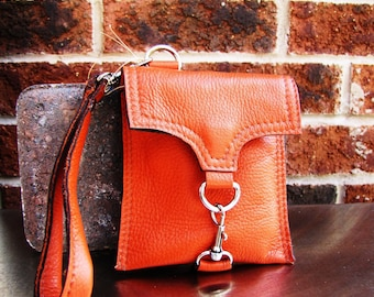 Orange leather wristlet wallet, Custom to fit iPhone 6, 6s, 7, 8 and X